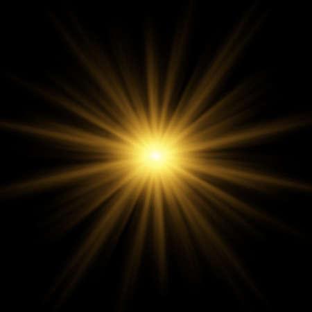 Bright blinding sun on a black background - Illustration Stockfoto