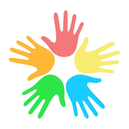 Many multi-colored hands on a white background illustration
