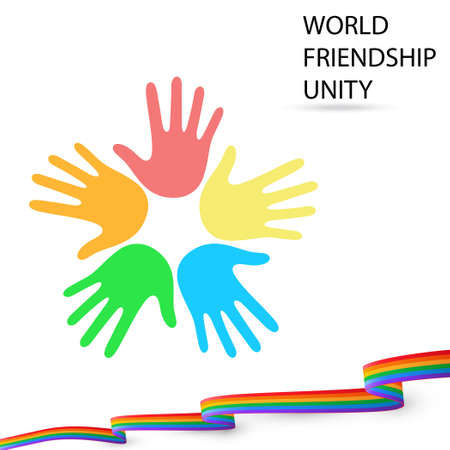 WORLD FRIENDSHIP icon. UNITY with a friendly flag