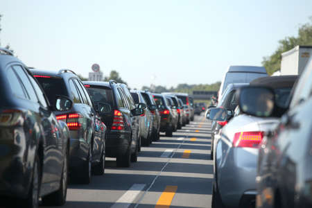 A long traffic jam from many different cars - Photo