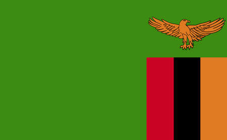 Zambia national flag in exact proportions - Vector illustration