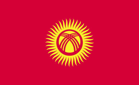 Kyrgyzstan national flag in exact proportions - Vector illustration