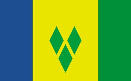 Saint Vincent and the Grenadines national flag in exact proportions - Vector illustration