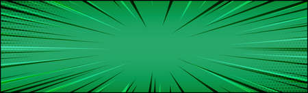 Panoramic green comic zoom with lines - Vector illustration