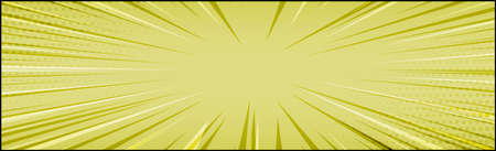 Panoramic yellow comic zoom with lines - Vector illustration