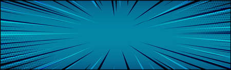 Panoramic blue comic zoom with lines - Vector illustration