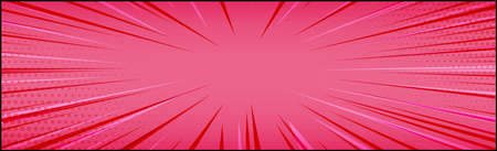 Panoramic red comic zoom with lines - Vector illustration