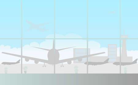 Empty waiting room with large panoramic windows at the airport - Vector illustration Ilustração