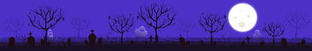 Scary gloomy night abandoned cemetery in the light of the moon - Illustration Çizim
