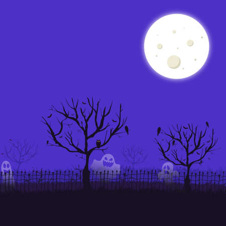 Scary gloomy night abandoned cemetery in the light of the moon - Illustration 스톡 콘텐츠