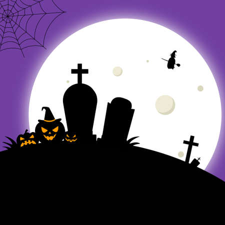 Scary gloomy night abandoned cemetery on the background of the moon - Vector illustration Çizim