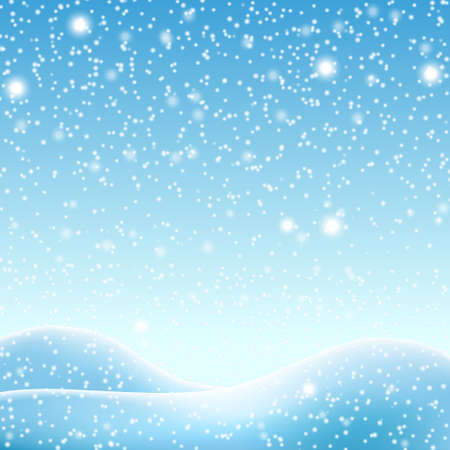 Snowdrifts on a background of blue sky with falling snow - illustration Stock Photo