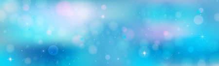 Christmas blue bokeh with glare snowflakes - illustration Archivio Fotografico