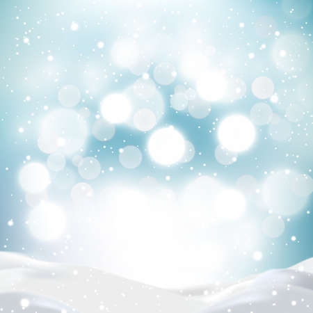 Snowdrifts on a background of blue sky with falling snow - illustration