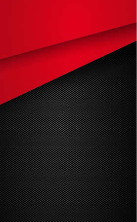 Black and gray carbon fiber texture with red accents - illustration Vetores