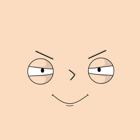 Angry, sullen face with expressive emotions - Vector illustration