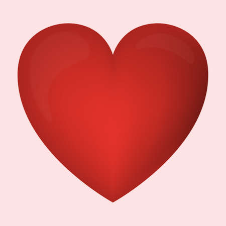 Abstract festive red heart on light background - Vector illustration