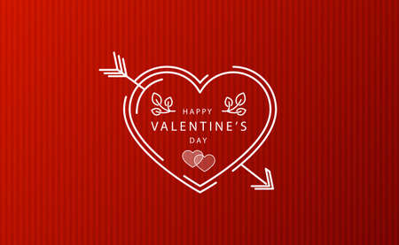 Abstract festive red heart on red striped background - Vector