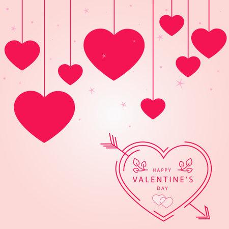 Abstract festive red hearts on light background - Vector Ilustración de vector