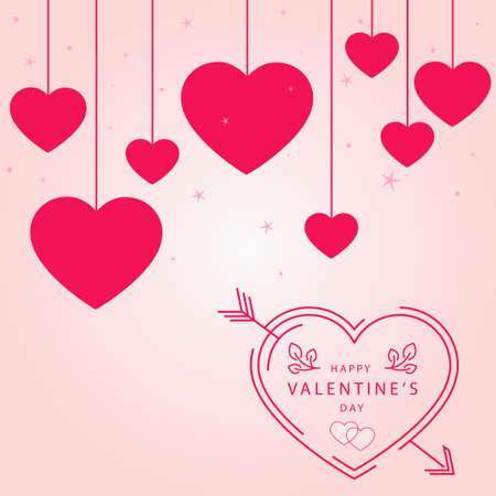 Abstract festive red hearts on light background - Vector