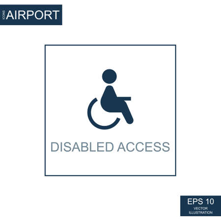 Abstract icon wheelchair on airport theme - Vector illustration