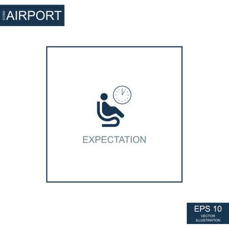 Abstract expectation icon on airport theme - Vector illustration