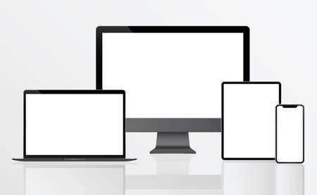 PC Monitor, Laptop, Tablet, Smartphone in Black, Silver and White with Reflection - Realistic Vector illustration 向量圖像