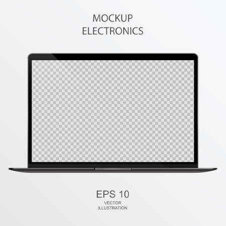 Laptop in Black, Silver and White with Reflection - Realistic Vector illustration 向量圖像