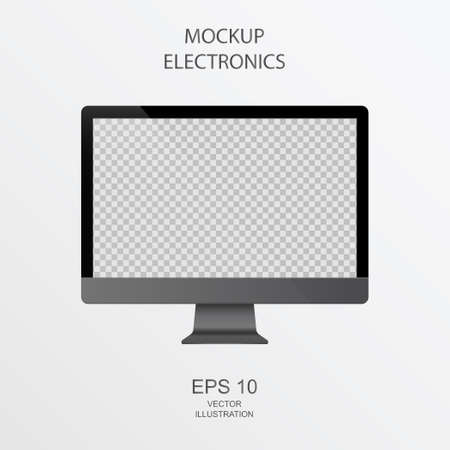 PC Monitor in Black, Silver and White with Reflection - Realistic Vector illustration