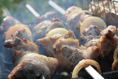 Juicy meat with onions on a skewer is fried on a fire 版權商用圖片