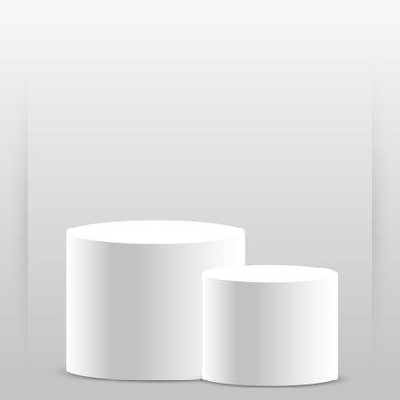 Realistic gray - white studio, white top hat podium - Vector illustration