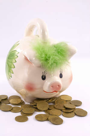 accumulation: moneybox pig as a symbol of the accumulation of money Stock Photo