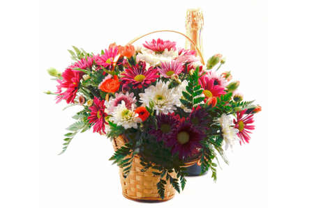 gift, a bouquet of flowers in a basket and a bottle of champagne