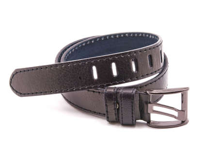 buckle:  Leather belt, black with metal buckle, white background Stock Photo