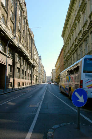 central european: The quiet streets of Budapest with beautiful buildings in the Central European style