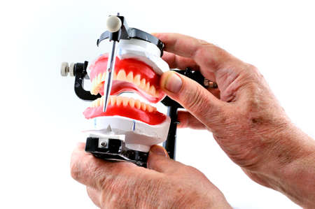 artificial teeth: The technician holds the dentures that are attached to a special machine