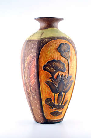 antique vase: Highly decorative ceramic flower vase decorated with a beautiful, against a white background