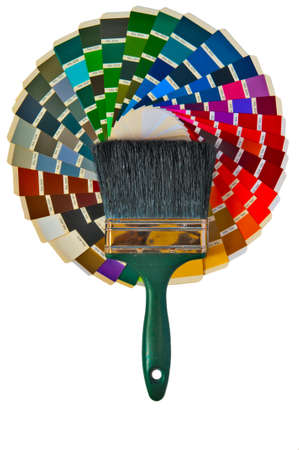 The terms of the samples of colored paint with their numbers and lying to them paintbrushes