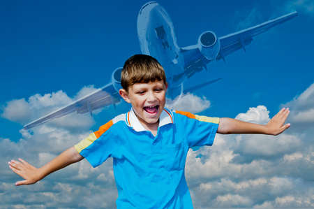 new ages: A boy plays in the pilot represent that it is the pilot of the aircraft Stock Photo