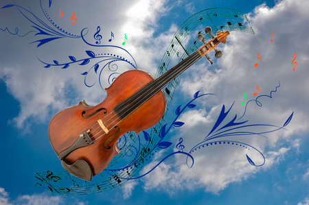 collage of violin, notes and vector graphics against the backdrop of the sky with white clouds