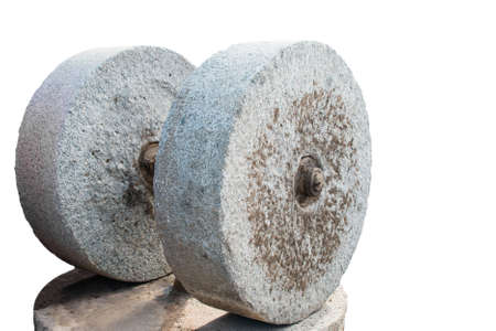 millstone: Modern Millstone with an electric motor for squeezing oil from olives