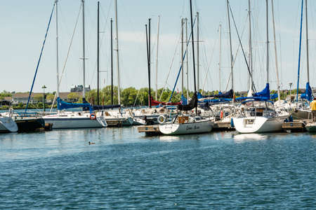 A whole forest of sailing yacht masts appears on weekends, summer days and holidays