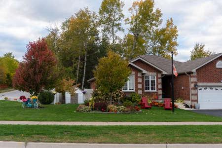 Festive Decorated Autumn Yard Prepares for Halloween