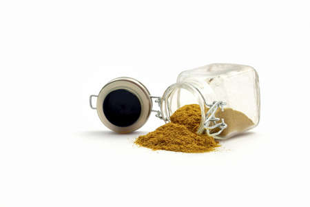 curry powder: Glasbehlter with curry powder