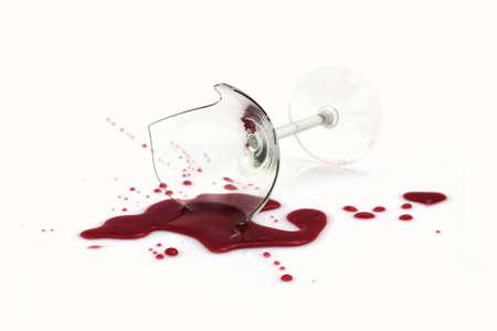 Broken wine glass white background