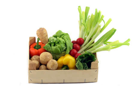 optional: a box with different vegetables on a white background Stock Photo
