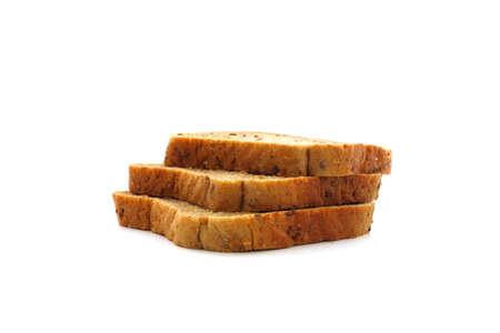 Three whole-grain toast slices on a white background Stock Photo