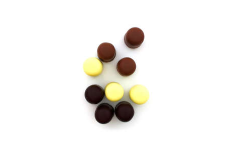 Different chocolate on a white background Stock Photo