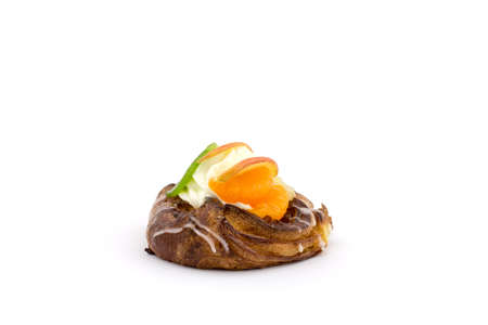 A fruit pudding on a white background