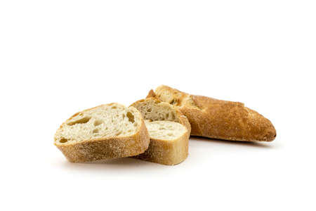 optional: A cut baguette on a white background Stock Photo